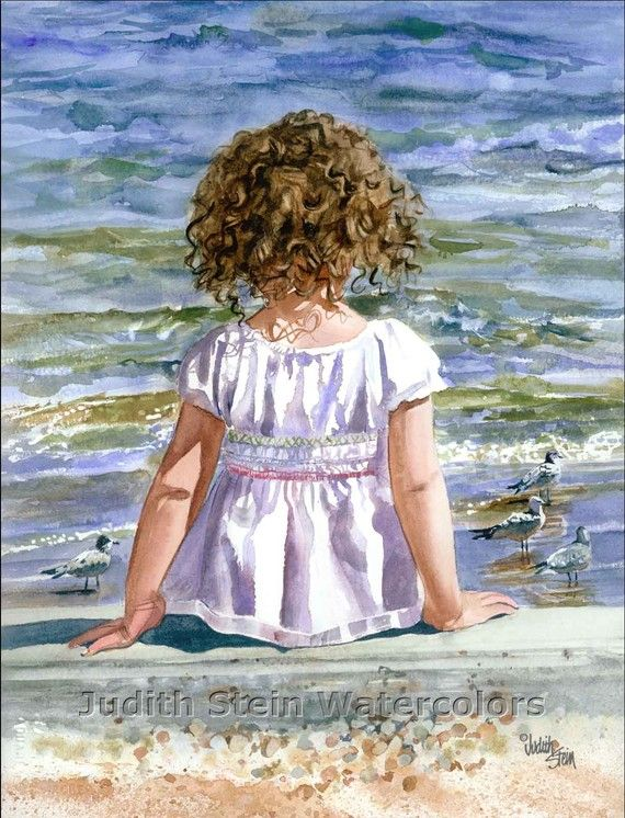 BEACH GIRL Bird Toddler Seagulls 11x15 by steinwatercolors on Etsy, $40.00