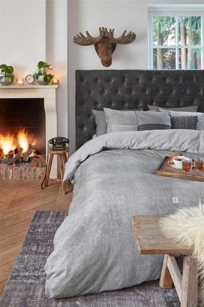 Riviera Maison Gingham Wendebettwäsche Grau 135x200 Romantik Pur