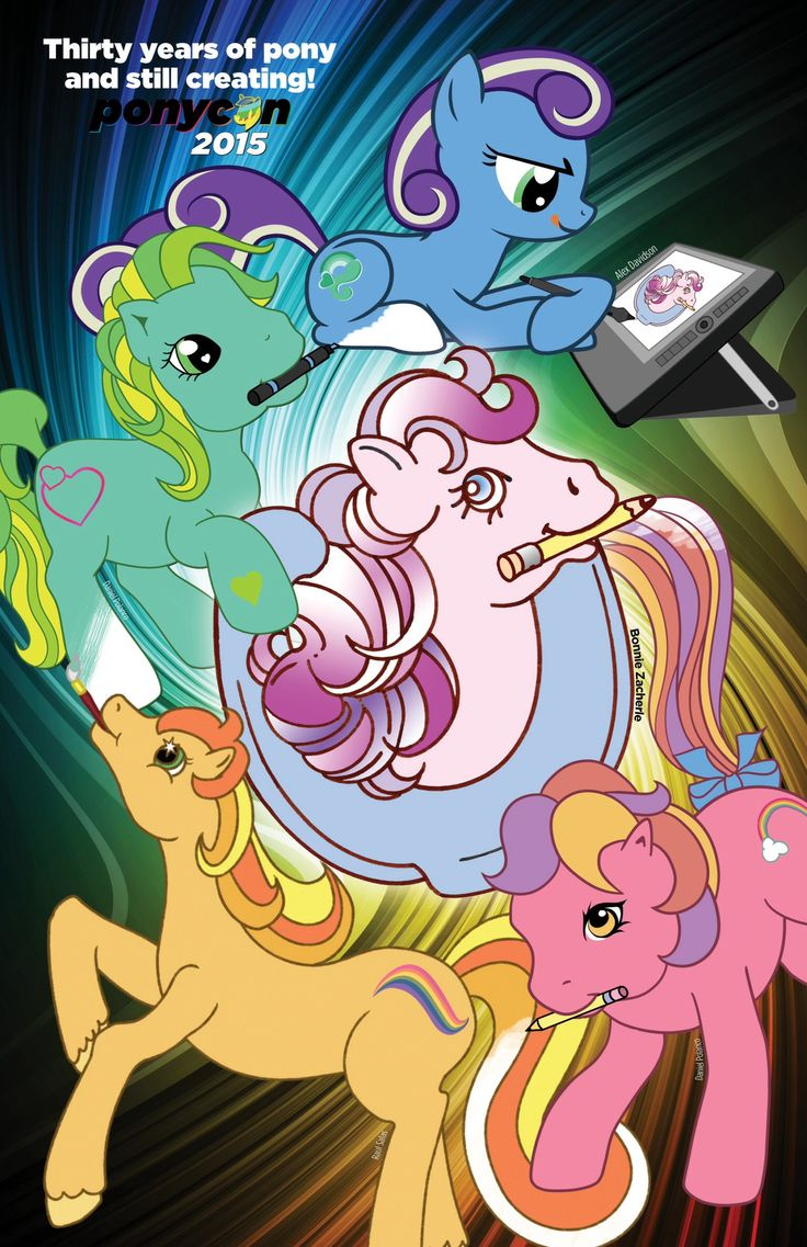 My Little Pony creator BONNIE ZACHERLE has collaborated on a full color poster celebrating My Little Pony's design evolution over 30 years. Featured are 4 generations of pony art, using the combined talent of artists in the MLP community. The first 50 posters will be made available to fans at My Little Pony Fair in Nashville, TN  on July 12th/13th, in the Ponycon booth. Bonnie Zacherle will be in attendance to sign posters. These limited exclusives will be a hot item at the 2 day convention.