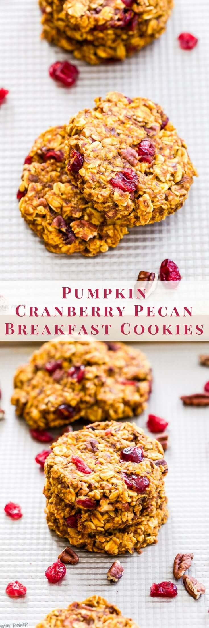 Pumpkin Cranberry Pecan Breakfast Cookies are great for a grab-and-go breakfast, post workout refueling or a healthy snack or dessert. Full of protein, carbs and plenty of pumpkin spice! {Gluten-Free and Vegan}