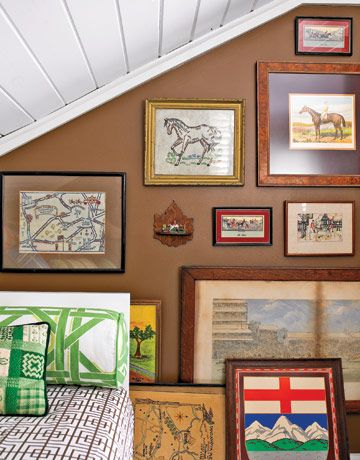 equestrian wall... love this!Bedrooms Redo, Hanging Artworks, Decor Wall, Except, Chic Cottages, Brown Wall, Gallery Wall, Art Wall, Equestrian Art