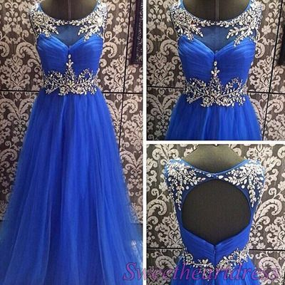 Navy blue prom dresses long, cute chiffon ball gown, 2016 handmade beaded round neck open back homecoming dress for teens sweetheartdress.s... #promdress #coniefox #2016prom