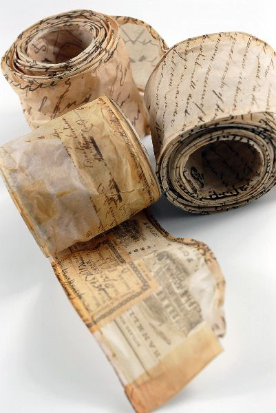 Via http://www.save-on-crafts.com/scriptribbon.html    Wired Script Parchment Paper Ribbon