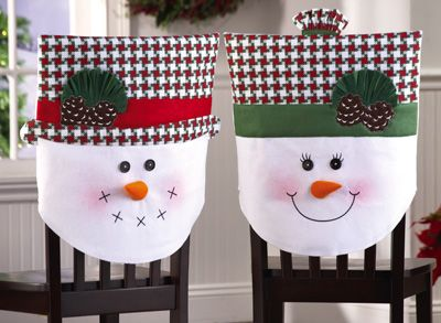Snow Family Holiday Dining Chair Covers from Collections Etc.