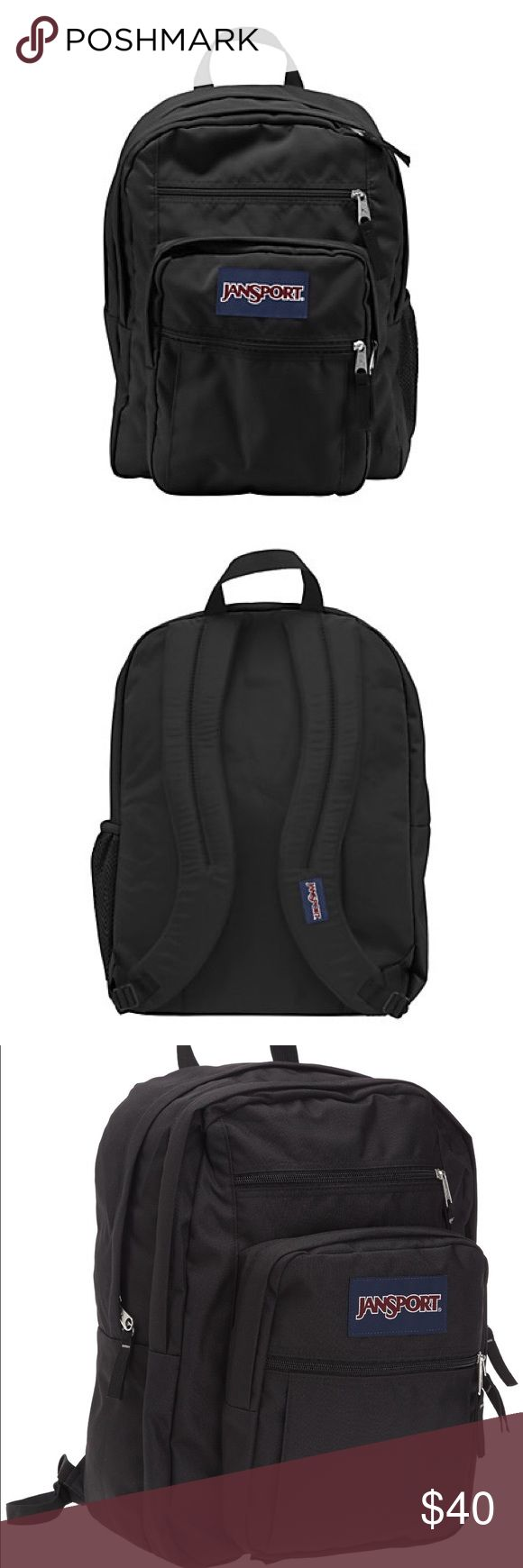 Black Jansport Big Student Backpack 📓 Two spacious main compartments to store large items such as textbooks Front utility pocket with organizer to store pens and pencils Pleated front stash pocket to keep small personal items Zippered front stash pocket for easy access Side water bottle pocket keeps you hydrated Ergonomic S-curved shoulder straps for a contoured fit Web haul handle for easy lifting Best Uses: School, Sports Number of Pockets: 5 Weight: 1 lb., 8 oz. Volume: 34 L Dimensions…