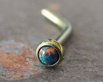 Nose Ring Fire Opal Nose Piercing Bone or by MidnightsMojo on Etsy