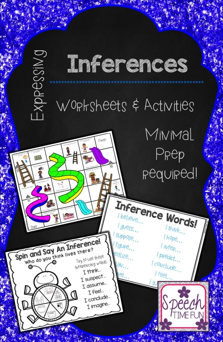 Expressing Inferences Worksheets and Activities
