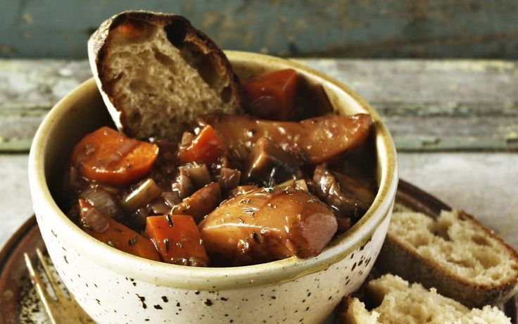 <p>This is a meat-free spin on coq au vin, or chicken in wine, a classic French dish in which chicken is braised in a red wine sauce with mushrooms, bacon, onions, and garlic.</p>