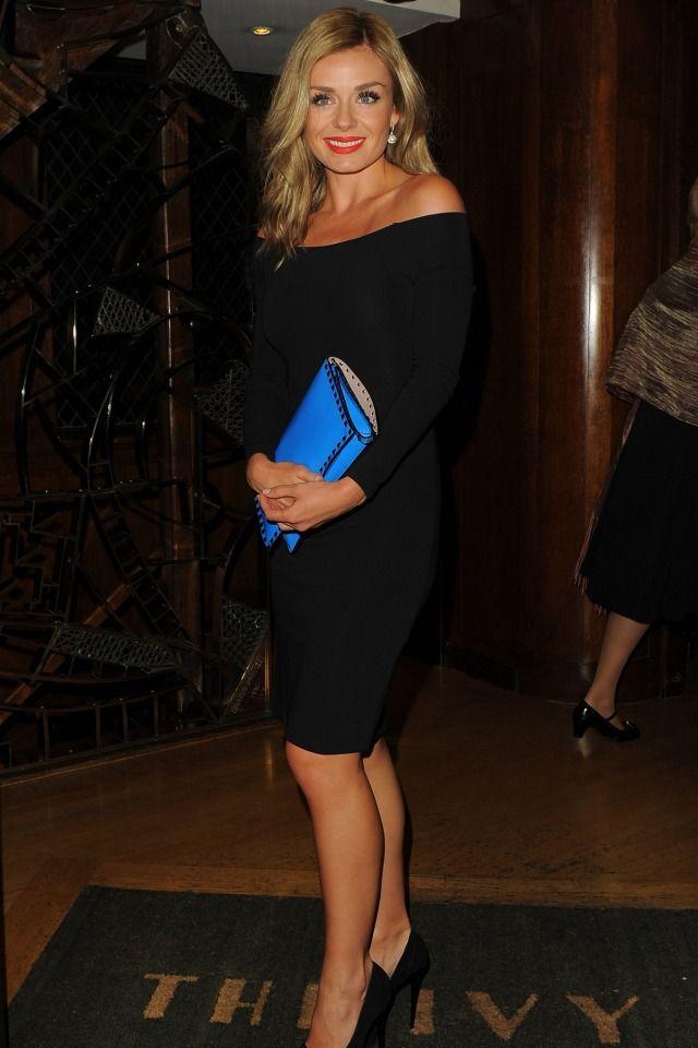 Katherine Jenkins . DWTS - gorgeous hair , makeup & LBD.