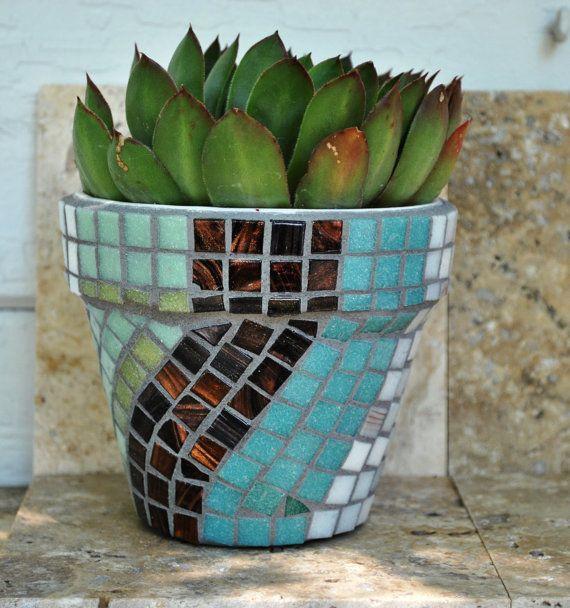 Custom Designed Colors Tile Mosaic Flower Pot by midcenturymosaics, $25.00