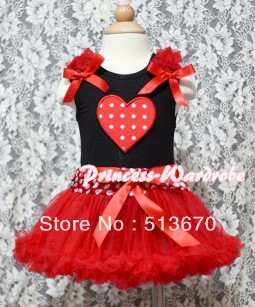 Красный белый горошек в форме сердца черно-белой печать детские Pettitop и красный оборками и красный с минни талии юбка MANG339