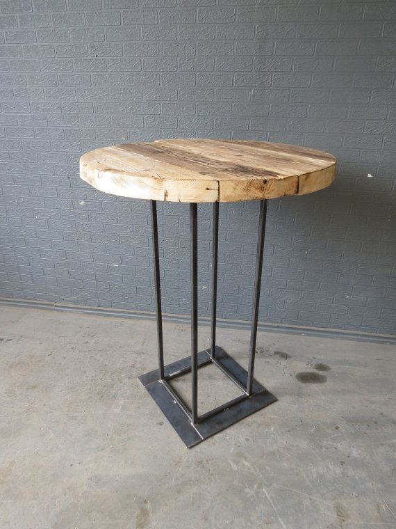 Industrial Chic Reclaimed Custom Made Round Tall Bar Poseur Table.Bar cafe Resturant Tables Steel and Wood Metal Hand Made 270