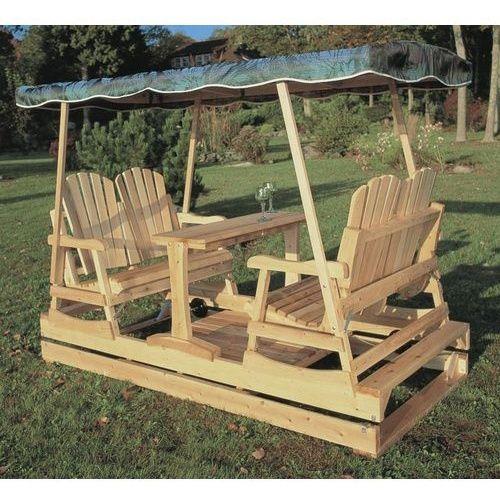 Rustic Natural Cedar Deluxe Wooden Outdoor Double Glider Loveseat Set - Outdoor Gliders at Hayneedle