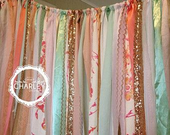Coral Peach Mint Gold Sparkle Sequin Fabric Backdrop with Lace Ribbon - Wedding Garland, Photo Prop, Curtain, Baby Shower, Crib Garland