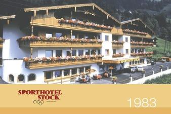 1983: Das Sporthotel Stock mit 85 Betten wird gebaut und beschäftigt 25 Mitarbeiter. Die Stocks sind Vorreiter in puncto Wellness: Es gibt finnische Sauna, türkisches Dampfbad, Whirlpool und Fitnessraum.