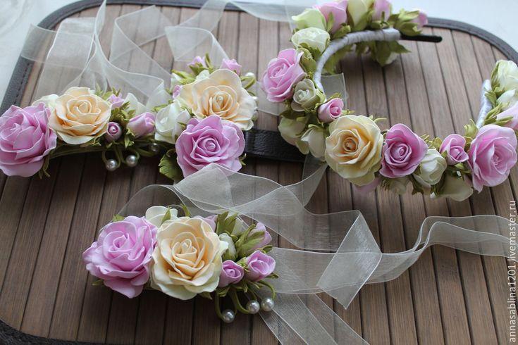 Купить Свадебный венок и браслет подружки невесты - разноцветный, венок из цветов, венок на голову