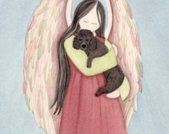 Black poodle with angel / Lynch signed folk art print