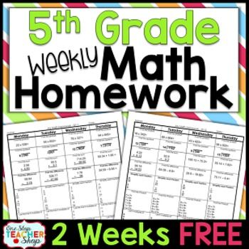 Need Spiral MATH HOMEWORK or MORNING WORK that will keep math concepts fresh all year?  This TOP-SELLING daily math review resource will do just that and more!This FREE product contains 2 weeks of Common Core math homework sheets covering the first two weeks of FIRST QUARTER of 5th grade! (starting the second week of school; includes weeks 2 & 3) Each homework sheet also comes with a Show Your Work/Progress Page, and ANSWER SHEET (6 pages total). ***If you try these homework sheets, and l...