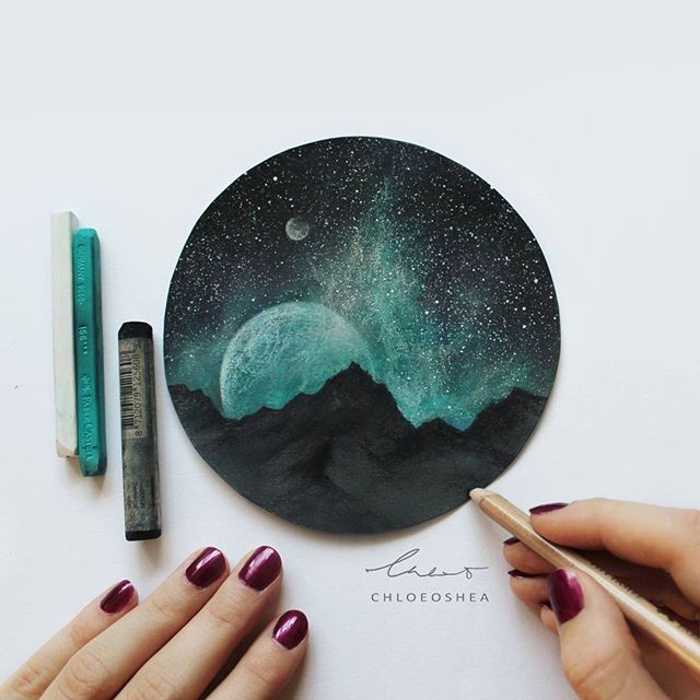 Intergalactic Sky © ____ What I used: -Rembrandt Soft Pastels -Faber-castell Polychromos Pastels -Faber-castell Pitt Pastel Pencils -White Acrylic Paint (for stars) -Micador Fixative Spray (to set) On dark grey pastel paper