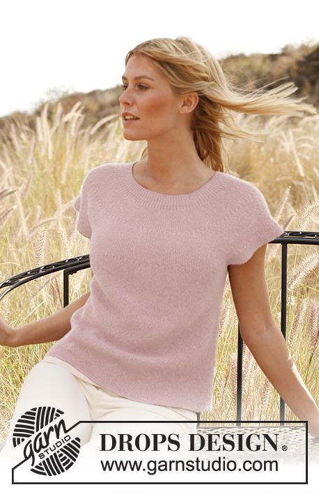 "Knitted DROPS top in garter st in ""Alpaca"". Size: S - XXXL. ~ DROPS Design"
