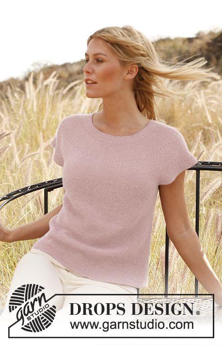 "Knitted DROPS top in garter st in ""Alpaca"". Size: S - XXXL. ~ DROPS Design"