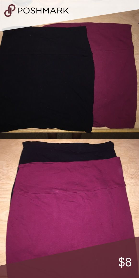 Two bandeau skirts Two very versatile bandeau skirts! One black, one maroon. Wet Seal Skirts