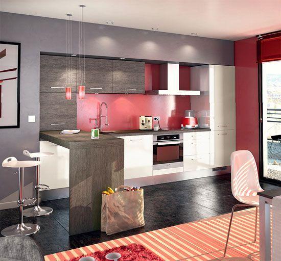 cuisine moderne blanc gris et rouge - Cuisine Moderne Rouge Et Blanc