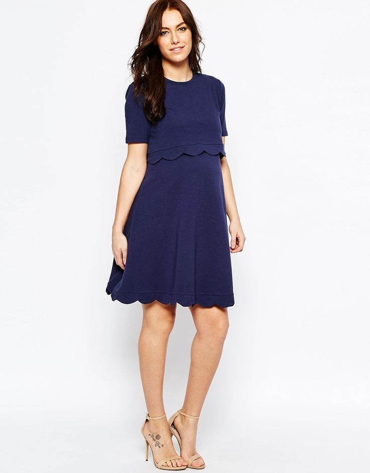 Image 4 of ASOS Maternity NURSING Scallop Dress with Short Sleeve