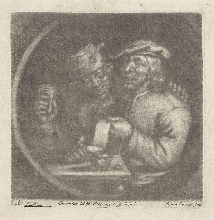 Jan van Somer   Twee zangers aan een tafel, Jan van Somer, Jeremias Wolf, 1673 - 1724   Twee mannen zingen van blad aan tafel, onder het genot van een glas drank en een pijp.