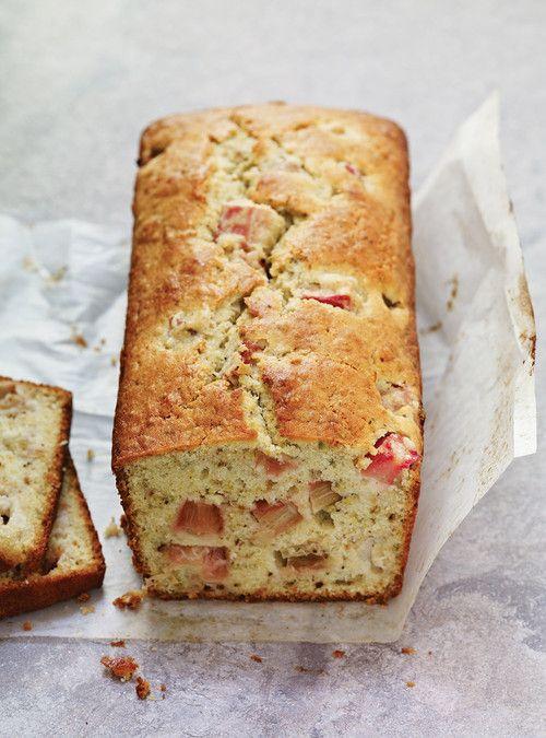 // rhubarb & pistachio cake