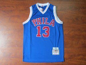 fabbc8ade ... Philadelphia 76ers Cheap NBA 13 Blue Wilt Chamberlain 1966-67 Throwback  Jersey G204 ...