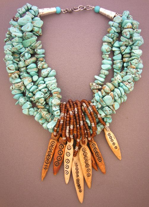 by Anna Holland | great collection of eight shaman spears hanging from five strands of unusually-shaped turquoise nuggets and sterling silver cones and clasp from Sri Lanka | SOLD