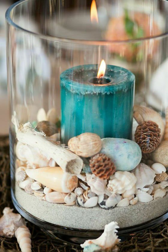 Blue Candle Shell Sand In Glass Cylinder Centerpiece.