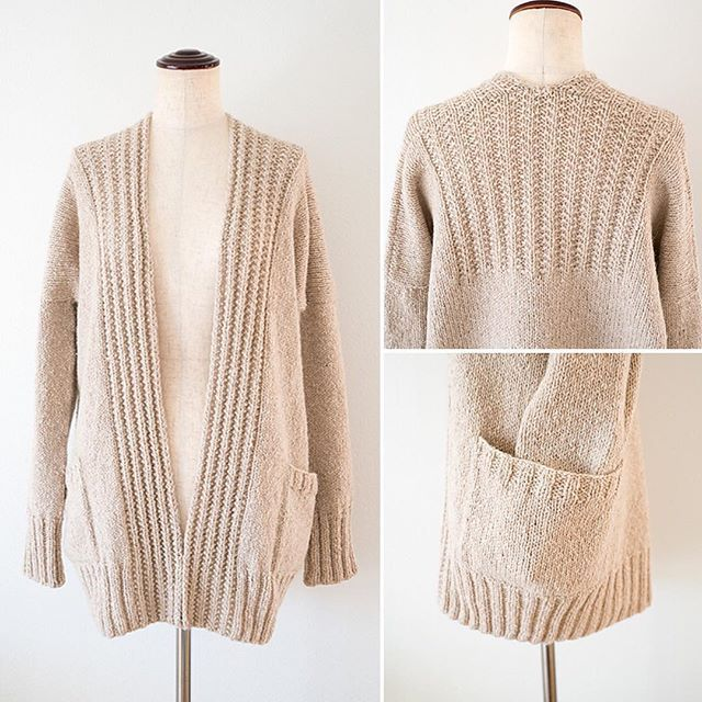 A lovely Edith cardigan in Owl, from the Home collection, designed by Pam Allen. Beautifully knitted by Instagram user @sio2_amam.
