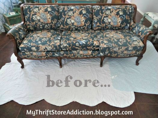 Painted Sofa Reveal  mythriftstoreaddiction.blogspot.com  Yard sale sofa BEFORE it is transformed by chalk paint!