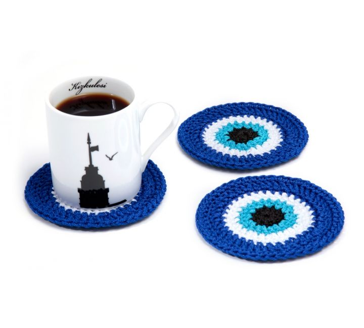 3 Pieces Crochet Evil Eye Coaster                              …