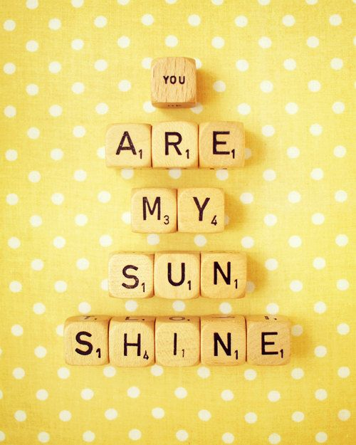 "You Are My Sunshine. Fine Art Photography. Retro Scrabble. Vintage Wood Dice. Home Décor. Nurser Art. Yellow. Polka Dots. Size 8x10"""