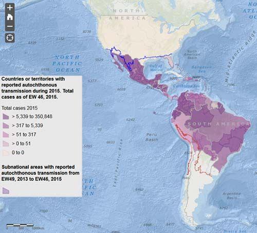 Chikungunya - transmisión autóctona - situación en Las Américas - semana 46, 2015 - mapa interactivo - PAHO/WHO