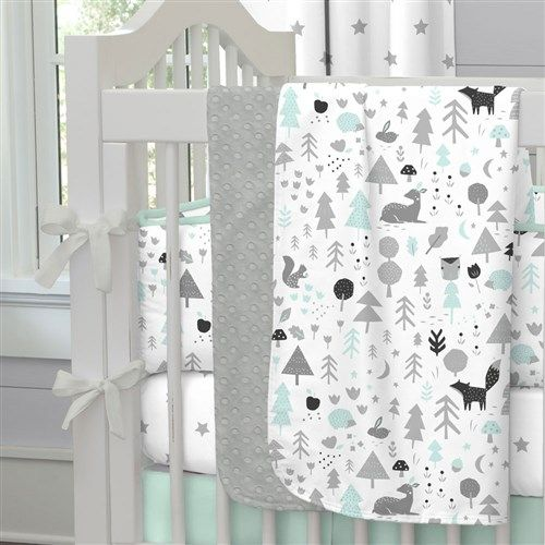 "Baby Blanket in Mint and Gray Baby Woodland by Carousel Designs.  Our soft and lightweight crib blanket is just the thing to wrap your baby up, snug as a bug in a rug. At 34"" x 43"", it's the perfect size for the newest addition to the family."