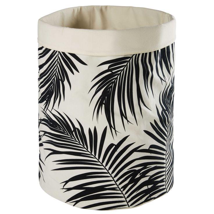 Sac en coton écru motifs palmiers noirs PALIMA