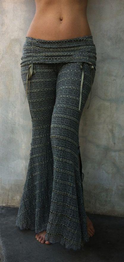 Grey Pattern Elastic Waist Long Pants