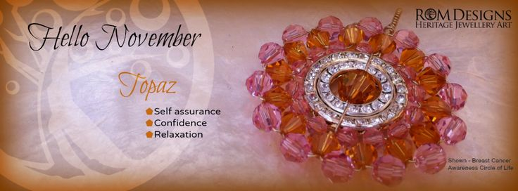Rom Designs Circle of Life Cancer Awareness Pendant. The centre Topaz crystal is the Swarovski birthstone that we use for the month of Novembe with Cancer Pink crystals on the outer and inner circle with the Topaz birthstone in the centre circle. The pendant is reversible with yellow gold tone on one side and silver on the other. The bail is made large enough to allow for swapping of chains. https://www.facebook.com/romdesignsjewellery