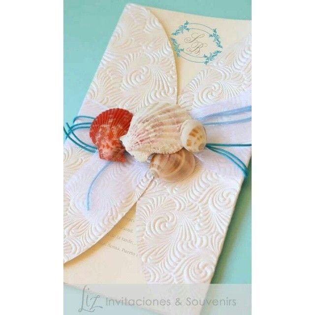 """""""Porque aquí siempre es #Verano"""" :-) invitaciones para una boda en la playa beach wedding invitations  coral, azul turquesa - turquoise blue handmade, hecho a mano"""