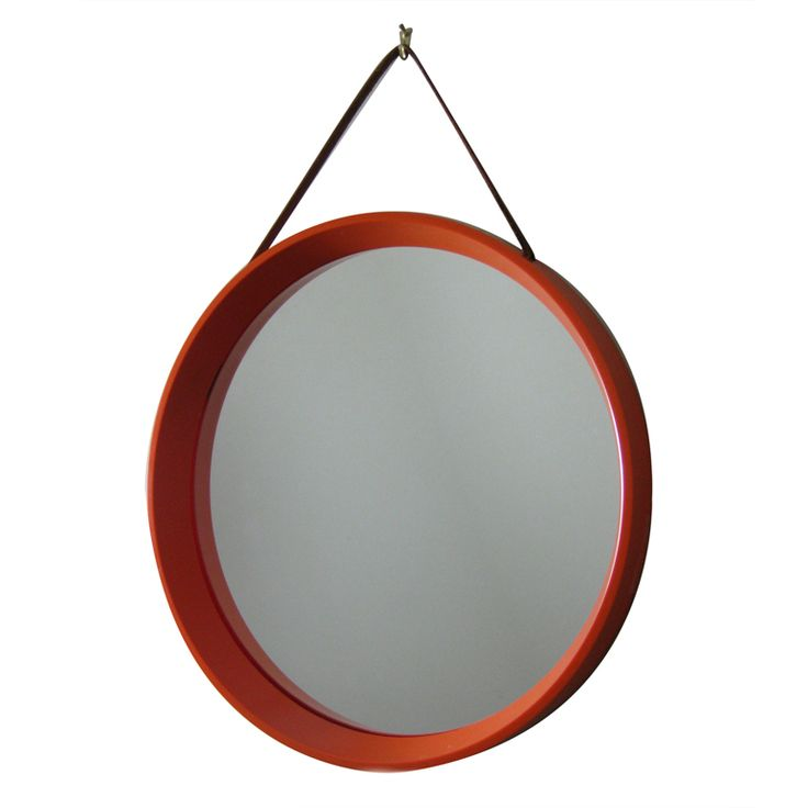 Mid Century Danish Round Orange Mirror with Leather Strap | From a unique…