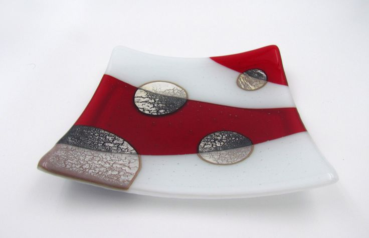 Red and White Plate with Silver Circles, Red Plate, Red Sushi Dish, Alchemy Fused Glass Plate, Modern Art Plate, Fused Glass Art by TimsHandblownGlass on Etsy https://www.etsy.com/uk/listing/269659176/red-and-white-plate-with-silver-circles