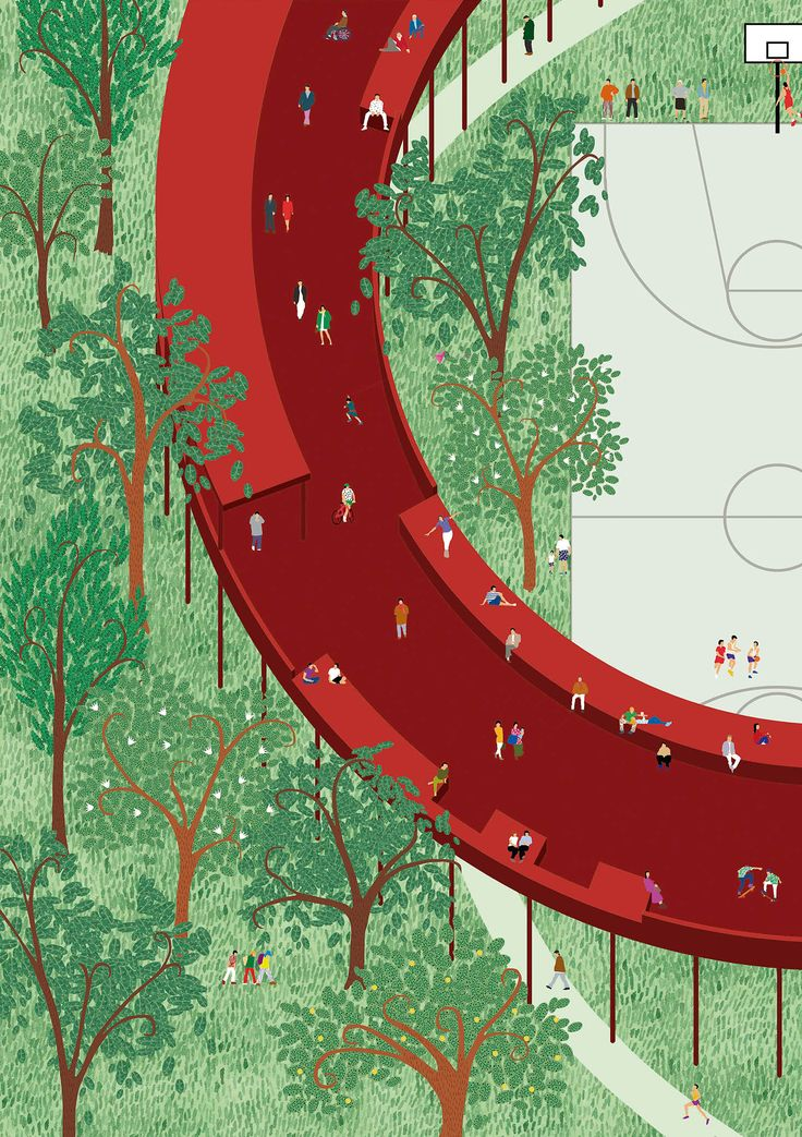 """Viar Estudio — Qianhai Monument Landscape Island """"The main idea is to create a fusion between two parks. On the one hand a traditional park with trees, bushes, curved ways… On the other hand a second park elevated 5 meters over the first one"""""""