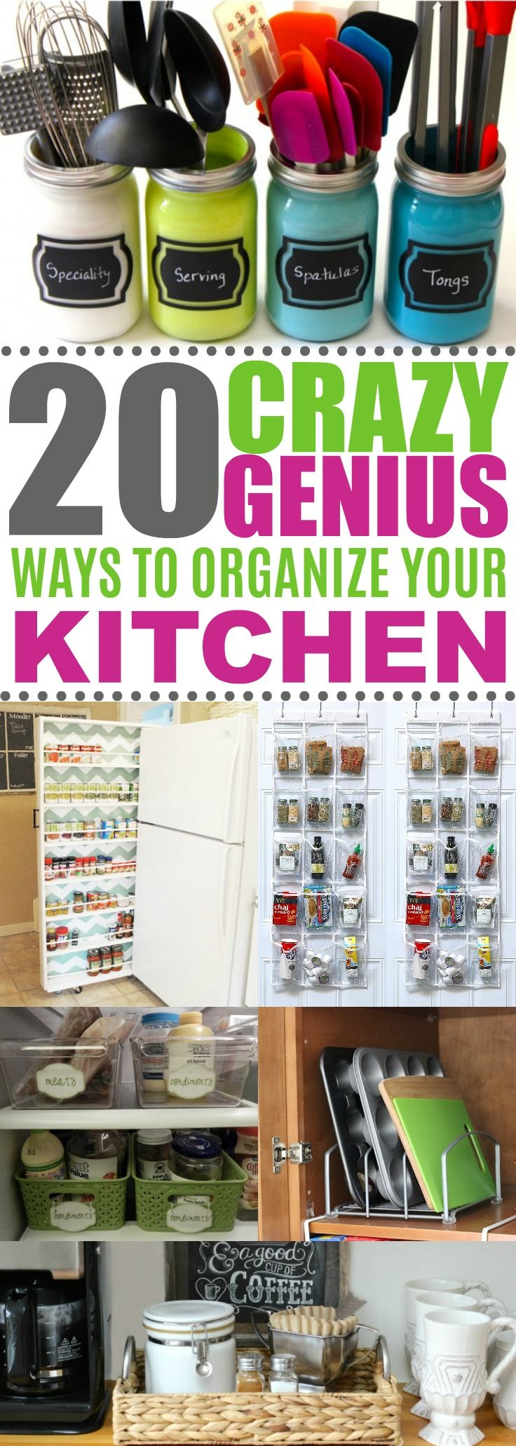 These 20 kitchen organization ideas are SO CREATIVE! Can't wait to try these easy DIY organization projects and products. These tips & hacks for the home will declutter everything in my kitchen! Definitely pinning!