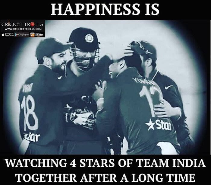 MS Dhoni Yuvraj Singh Virat Kohli and Suresh Raina #INDvENG For more cricket fun click: http://ift.tt/2gY9BIZ - http://ift.tt/1ZZ3e4d