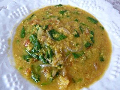 ... Vegetarian: Red Lentil Dal with Cumin-Fried Onions and Wilted Spinach