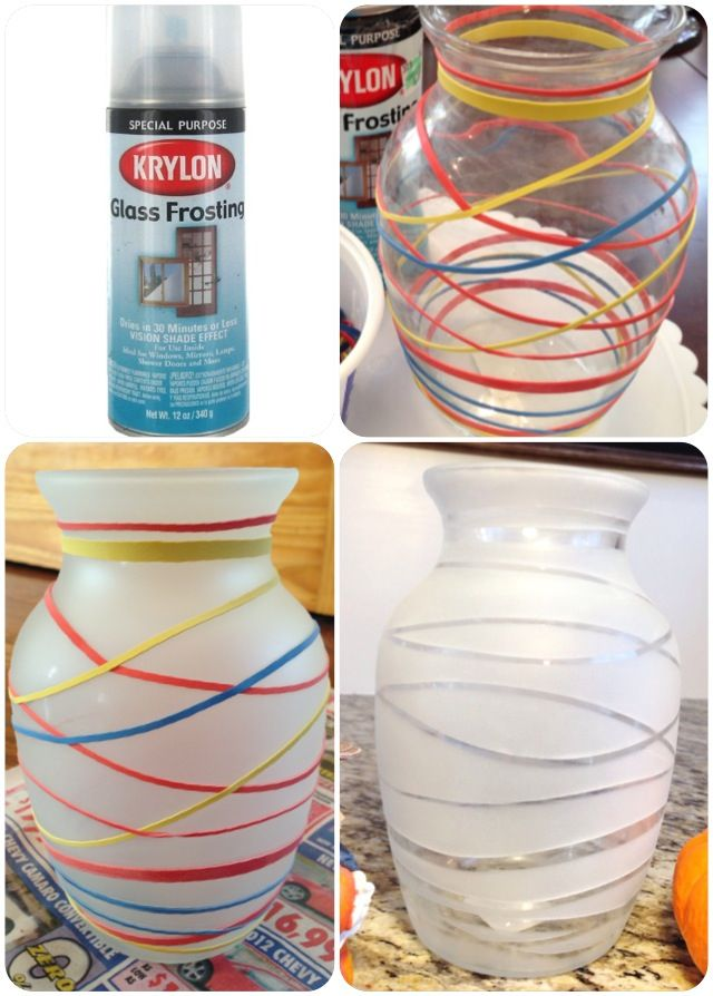Glass Frosting by Krylon will give any glass vase or mirror a nice frosted effect..just wrap the vase with rubber bands, spray, let dry, cut bands off you have a neat frosted vase!!